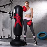 MENGDUO Inflatable Free Standing Punching Bag, Heavy Training Bag, Adults Teenage Fitness Sport Stress Relief Boxing Target (Black)