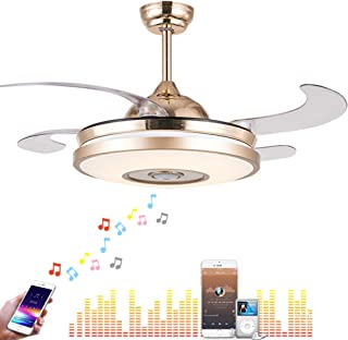 Fandian 42'' Modern Ceiling Fans with Light Smart Bluetooth Music Player Chandelier 7 Colors Invisible Blades with Remote Control, Dimmable LED Kits Inlcuded (42in Classic)