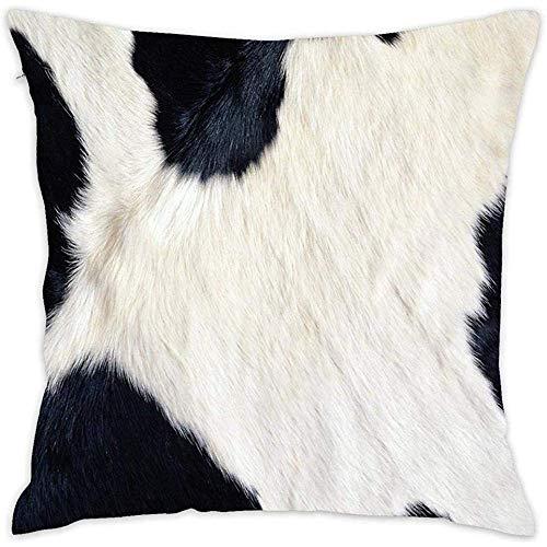 jonycm Funda de cojín Fundas de Almohada de Piel de Vaca en Blanco y Negro Impression Fundas de cojín Decorativas cuadradas Decoración para el hogar para sofá Sofá Dormitorio Coche 45X45cm