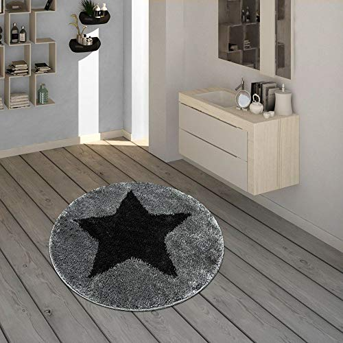 Paco Home Badematte, Runder Kurzflor-Teppich Für Badezimmer Mit Sternen-Motiv In Schwarz, Grösse:60x60 cm