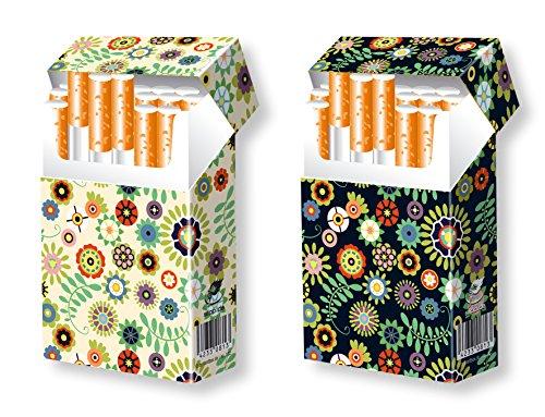 slipp overall - 2er Set - Design/Motiv Retro-Blumen beige und schwarz - hübsche Zigarettenschachtel Überzieher aus Karton mit Deckel für Ihre Zigarettenpackung