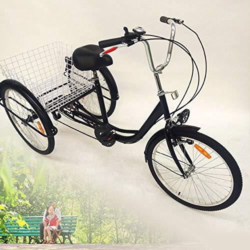 DIFU Senioren Dreirad Erwachsene 24 Zoll 6 Gang 3 Rad Fahrrad Damenfahrrad Cityfahrrad City Bike Tricycle mit Fahrrad-Licht und Korb, für Senioren City Outdoor Sports Shopping (Schwarz)