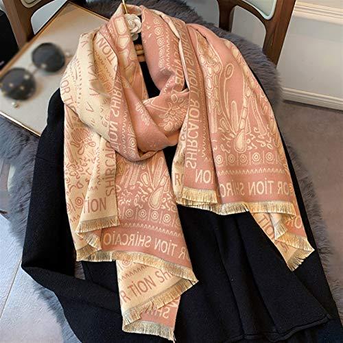 ZHIHUI Poncho Donne Sciarpa Donna di Viaggio Reversibile Thick dello Scialle della Sciarpa Scialle Caldo Coperta Inverno Scialle Ultra Leggera (Color : Pink)