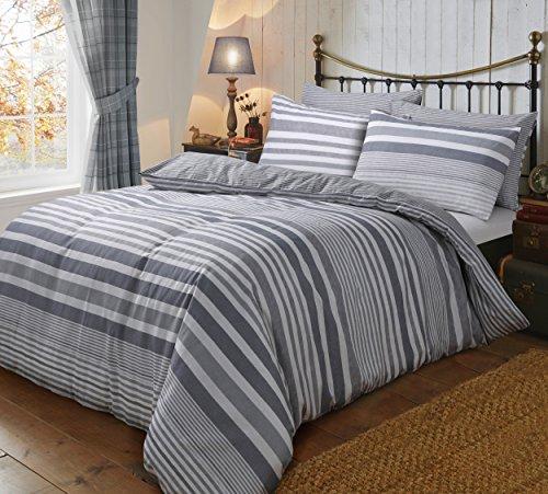 Sleepdown - Set di biancheria da letto double-face, in flanella, motivo a righe grigie, 220 x 230 cm, in cotone
