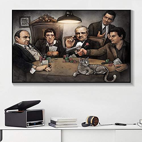 Gangers Art Print von Big Chris Art Gangsters Spielen Poker Poster auf Wandkunst Bild für Wohnzimmer Dekorative Malerei 40x60cm kein Rahmen