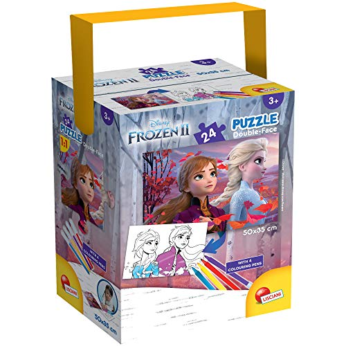 Lisciani - Puzzle in a Tub Doble Cara con Reverso para Colorear 24 Piezas con 4 rotuladores incluidos Disney Frozen Reina de Las Nieves Puzle para niños a partir de 3 años (86153)