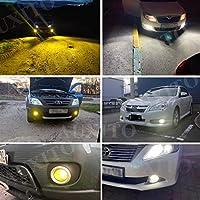 2ピースカンブスにはエラーH11 H8 LED黄色と白のH10 LEDフォグランプH16JP LEDの球根の車の駆動ライトがありません。 (Emitting Color : 3000K Golden, Socket Type : H16(JP))