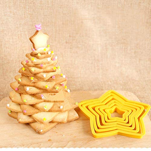 HHOME 6Pcs/Set Christmas Tree Cookie Cutter Stars Shape Fondant Cake Biscuit Cutter Mold Cake 3D Decorating Tools Baking Tool