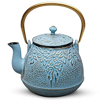 Teapot, TOPTIER Japanese Cast Iron Tea Kettle with Stainless Steel Infuser, Cast Iron Teapot Stovetop Safe, Leaf Design Teapot Coated with Enameled Interior for 32 Ounce (950 ml), Turquoise Blue