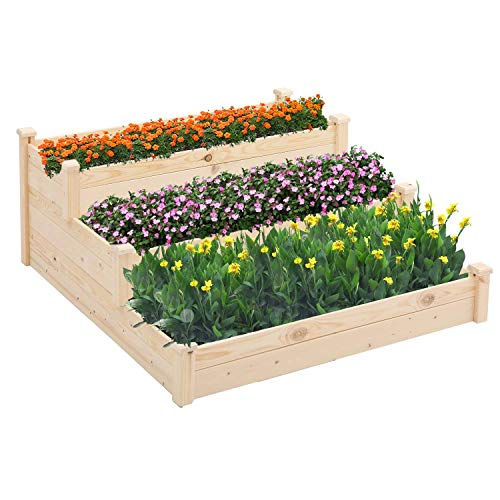 Patiomore 3 Tier 4x4 Feet Outdoor Wooden Elevated Raised Garden Bed Planter Kit Grow Gardening Vegetable Natural, Patio or Yard Gardening, Natural