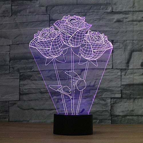 sanzangtang LED Nachtlicht 3D-Vision-Seven Colors-Fernbedienung-Red Rose Flower Nachtlicht Vision Nachtlicht Creative Lava Table Lamp Novel Lighting Badezimmerlichtled nachtlicht