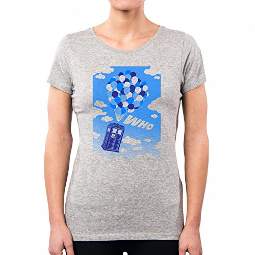 PACDESIGN Camiseta Mujer Up Who Serie TV Geek Funny TV Series Film Doctor Who Up Nemimakeit Nm0107a, XS, Lightgrey