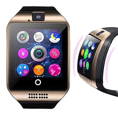 Hihey Smart Watch mit Kamera, Q18 SmartWatch Wasserdicht Sport Smart Fitness Tracker Armbanduhr mit SIM Card Slot Kamera Schrittzähler für Android Smartphones (Golden)