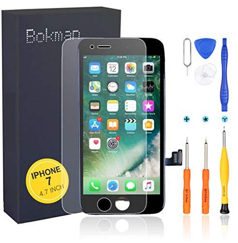 bokman Skärmbyte Touch LCD för iPhone 7 Svart, Pekskärmsglas med Reparationssats