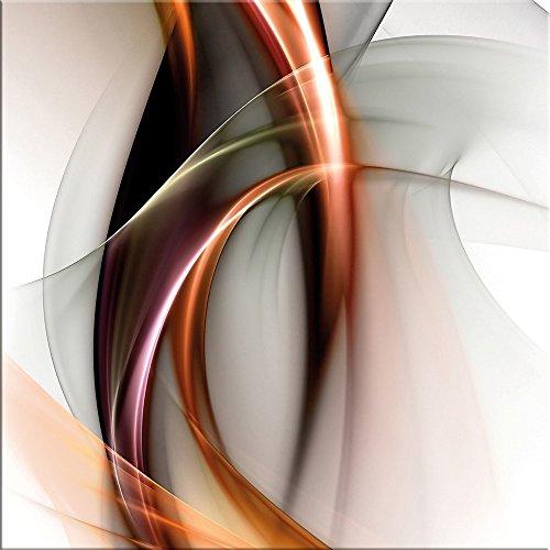 artissimo, Glasbild, 30x30cm, AG2088A, Fire & Light II, abstrakte Welle, Bild aus Glas, Moderne Wanddekoration aus Glas, Wandbild Wohnzimmer modern