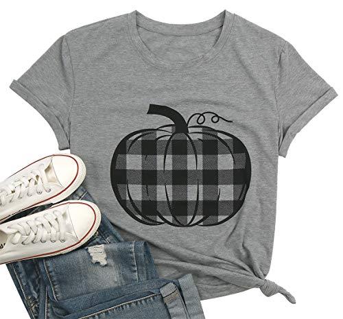 Pumpkin Shirt Top Women Halloween Buffalo Check Pumpkin Plaid Pattern Graphic Print T Shirt Tee Size XL (Gray)
