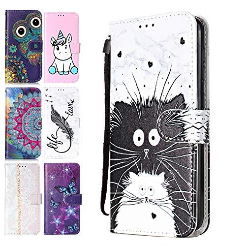 Coeyes Handyhülle kompatibel für Apple iPhone 7 8 Hülle Leder Tasche Flip Hülle 3D Muster Design mit kartenfach Brieftasche Etui Schutzhülle Cover Lederhülle - Schwarz Weiss-Katze