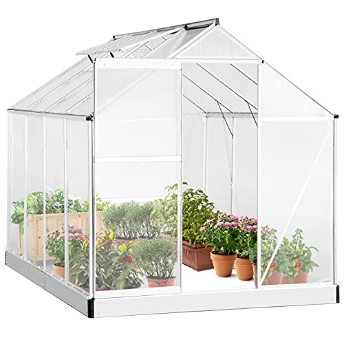 Aoxun Polycarbonate Walk-in Garden Greenhouse, Outdoor Stable Green House with Adjustable Roof Vent and Rain Gutter for Plants in Winter, 8 x 6 x 6.8 FT
