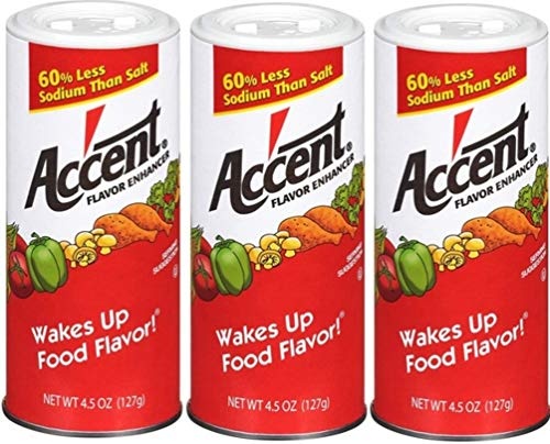 Ac'cent Flavor Enhancer 00054 All Natural 4.5 Oz. Wakes Up Food Flavor Canister (Pack of 3); Ideal for Meats, Poultry, Vegetables, Soups and Salads, Monosodium Glutamate Imparts an Umami Flavor