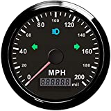 ELING Universal GPS Speedometer Adjustable Odometer 0-200MPH Overspeed Alarm 85MM