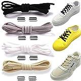 4 Pares Cordones, Elásticos Cordones, Sin Lazos Cordones, Con Hebilla de Metal, No Necesario Atar Cordones Zapatos, Adecuado para Niños, Ancianos, Discapacitados, Zapatos con Cordones (4 Colores) (A)