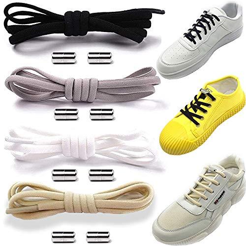 4 paia Lacci delle Scarpe, Lacci Elastici, Elastici Lacci Scarpe, No Tie Lacci, Con Fibbia in Metallo, Adatto a Bambini, Anziani, Disabili, Scarpe Sportive, Scarpe Casual (4 Colori) (A)