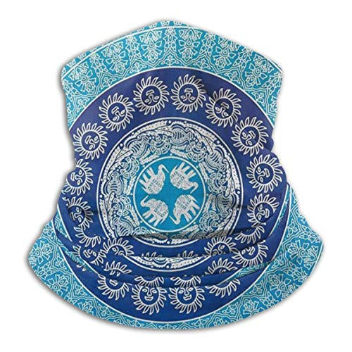 Hippie Elephant Mandala Blue Bohemian Art Neck Warmer Gaiter For Men Women Headband Face Mask Bandana Head Wrap Scarf Headwear Winter Balaclava For Ski Running Motorcycle