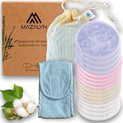 16 pcs lingette coton demaquillant réutilisable en fibre de bambou et cotons écologique lavables. 2 filets en coton. 16 disques démaquillants double face. 1 bandeau lavable réutilisable. cadeau femme