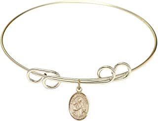 DiamondJewelryNY Eye Hook Bangle Bracelet with a St Joseph of Cupertino Charm.