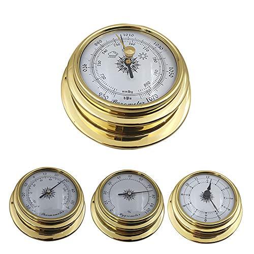 FADDARE Zifferblatt Barometer Uhr Thermometer Hygrometer, 4-teilige analoge Wetterstation Wandmontage mit Messinggehäuse und Kunststoffboden, Luftdruck misst Einfachheit und einfache Ablesbarkeit