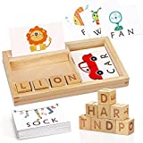 TOY Life Spelling Games for Kids Ages 3 4 5 6 7 8 - Matching Letter Game for Kids- Alphabet Learning Games Wooden Letter Blocks Picture Flash Cards for Toddlers -Sight Word Educational Toys for Boys