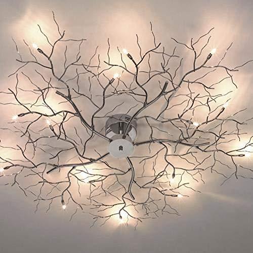 famlights Deckenleuchte Äste Metall, Chrom, 15-Flammig | Deckenlicht Astleuchte Schlafzimmer-Lampe Baum Esszimmer-Leuchte Kinderzimmer-Leuchte Büro Praxis schlicht Küchen-Leuchte ZImmerleuchte G4