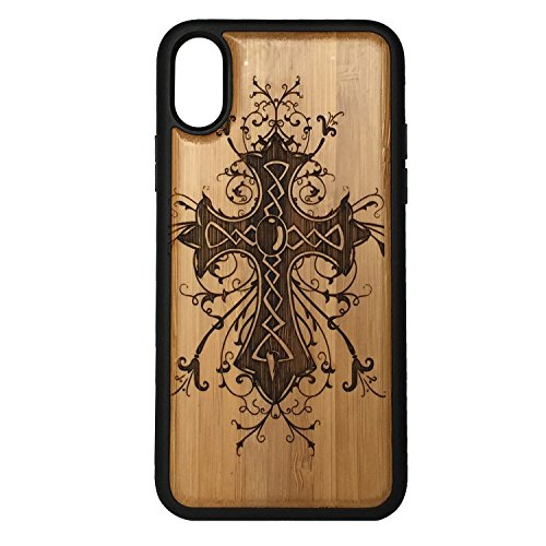Celtic Cross phone Case Cover for iPhone XS & iPhone X by iMakeTheCase   Eco-Friendly Bamboo Wood Cover + TPU Wrapped Edges   Ornate Catholic Christian Jesus Christ Grunge Gift.