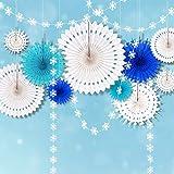CASA DECRO アイス ブルー フローズン スノーフレーク パーティー デコレーション ホワイト ハンギング ペーパー ファン デコリング と スノーフレーク ガーランド バンティング バナー ストリーマー エルザ 誕生日 クリスマスツリー ツリー ベビー シャワー 結婚式 キッズ ルーム ホーム用