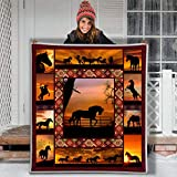 Sunset Cowboy Horse Ranch Confession Love Letter Hippie Animal Blanket Gift Farmer Loves Pet Flannel Sherpa Blanket Birthday Gift Souvenir Thick Warm (Youth 56 X 43 INCH)