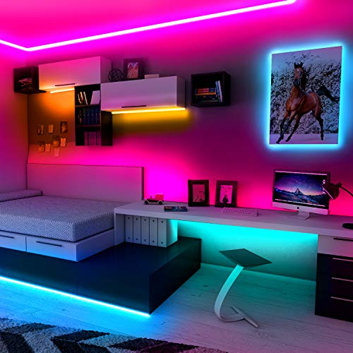 Phopollo Bluetooth Led Strip Lights, 32.8ft Flexible Led Lights with Phone Control and 24 Keys Remote for Bedroom, House and Holiday Decoration 8