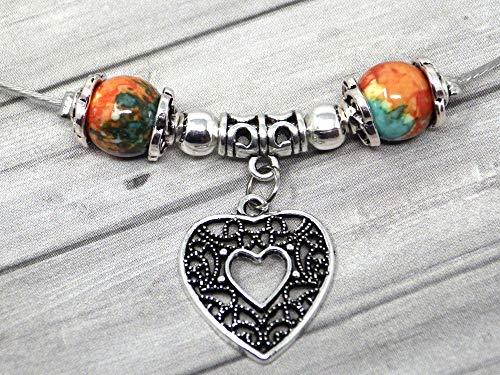 Jade Perlenkette für Frauen in Braun, Orange und Blau getönt und filigraner Anhänger in Form eines Herzens