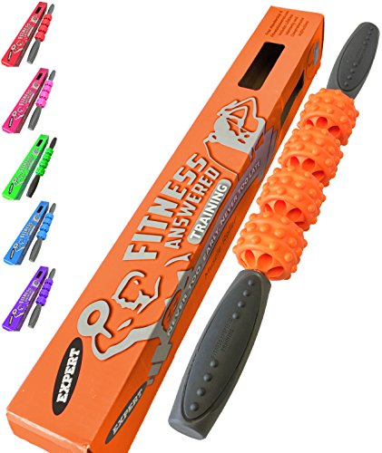 The Muscle Roller Stick Massage Stick Roller | Foam Roller Alternative for Athletes and Runners - Neck and Back - Advanced Orange