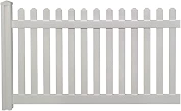WamBam Traditional 4 by 7-Feet Premium Classic Vinyl Picket Fence with Post and Cap