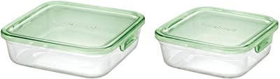 iwaki(イワキ) 耐熱ガラス 保存容器 グリーン 角型 L 1.2L パック&レンジ KC3248N-G & 耐熱ガラス 保存容器 グリーン 角型 M 800ml パック&レンジ KC3247N-G 【セット買い】