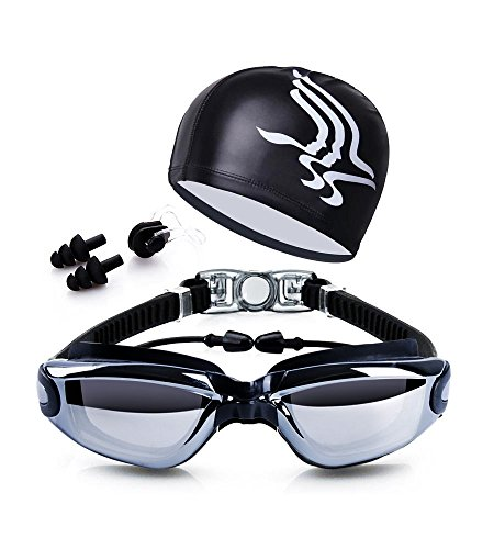 Dsoso Swim Goggles + Swim Cap + Case + Nose Clip + Ear Plugs, Clear Swimming Goggles Coated Lens No Leaking Anti Fog UV Protection for Adult Men Women Youth Kids Child,Black