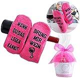 Wein-Socken, Geschenk für Frauen, WENN DU DAS LESEN KANNST BRING MIR WEIN, Geburtstagsgeschenk für Freundin, Schwester-Geschenk, witziges Wein-Zubehör (Rosa)