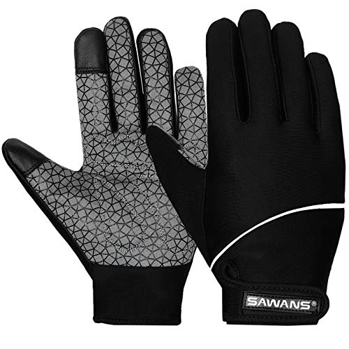 Guanti da ciclismo invernali da donna e uomo con touch screen, antivento, termici, antiscivolo, in gel, imbottiti, per mountain bike, bicicletta, mountain bike, bici da strada, sport (nero, S)
