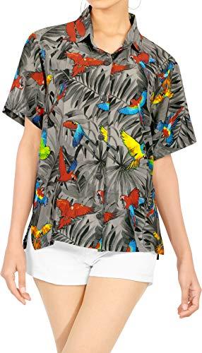 LA LEELA de las Mujeres del botón Blusa Playa bajando Ocasionales Camisa Hawaiana Halloween Negro 14 s