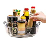 Lazy Susan Turntable Organizer Tray with Handle, Rotating Spice Organizer for Kitchen Cabinet Pantry, Spinning Makeup Container Holder for Bathroom Vanity Countertop, Snack Storage for Refrigerator