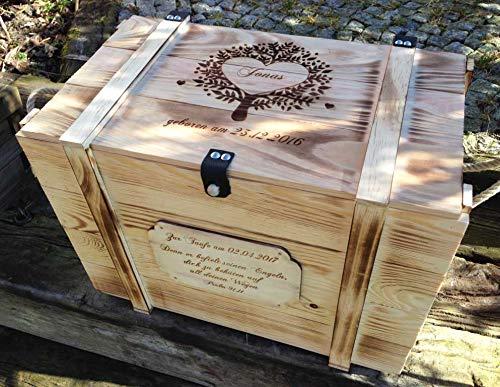 Große Baby Erinnerungskiste Vintage aus Holz mit Wunschmotiv - Babygeschenk personalisiert - Erinnerungsbox mit Gravur - Babygeschenke - Taufgeschenke