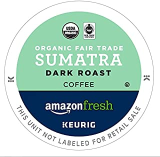 AmazonFresh 80 Ct. Organic Fair Trade K-Cups, Sumatra Dark Roast, Keurig K-Cup Brewer Compatible