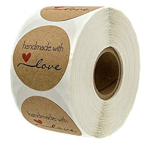 BovoYa 500 Stück Kraftpapier-Aufkleber Runde Aufkleber Handmade with Love Sticker für Backen Geschenktüten Briefumschlag Hochzeit