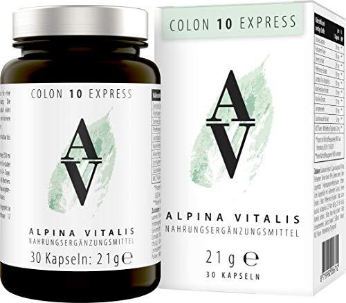 Alpina Vitalis Colon 10 Tage Express-Kur, natürliche und hocheffektive Formel mit 10 Stoffen entwickelt in der Schweiz von Experten, 30 vegane Kapseln