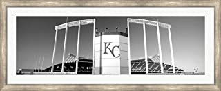 Baseball Stadium, Kauffman Stadium, Kansas City, Missouri by Panoramic Images Framed Art Print Wall Picture, Silver Scoop Frame, 57 x 23 inches
